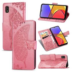 Embossing Mandala Flower Butterfly Leather Wallet Case for Docomo Galaxy A21 Japan SC-42A - Pink