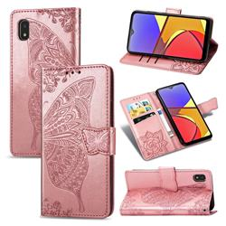 Embossing Mandala Flower Butterfly Leather Wallet Case for Docomo Galaxy A21 Japan SC-42A - Rose Gold