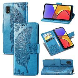 Embossing Mandala Flower Butterfly Leather Wallet Case for Docomo Galaxy A21 Japan SC-42A - Blue
