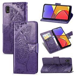Embossing Mandala Flower Butterfly Leather Wallet Case for Docomo Galaxy A21 Japan SC-42A - Dark Purple