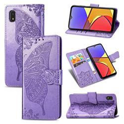 Embossing Mandala Flower Butterfly Leather Wallet Case for Docomo Galaxy A21 Japan SC-42A - Light Purple