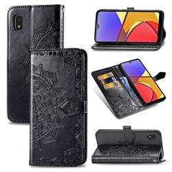 Embossing Imprint Mandala Flower Leather Wallet Case for Docomo Galaxy A21 Japan SC-42A - Black