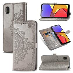 Embossing Imprint Mandala Flower Leather Wallet Case for Docomo Galaxy A21 Japan SC-42A - Gray