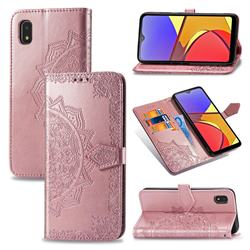 Embossing Imprint Mandala Flower Leather Wallet Case for Docomo Galaxy A21 Japan SC-42A - Rose Gold