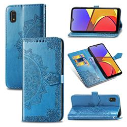Embossing Imprint Mandala Flower Leather Wallet Case for Docomo Galaxy A21 Japan SC-42A - Blue