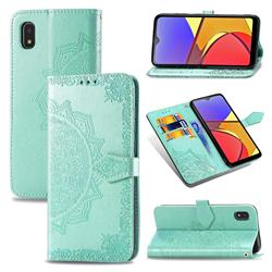 Embossing Imprint Mandala Flower Leather Wallet Case for Docomo Galaxy A21 Japan SC-42A - Green