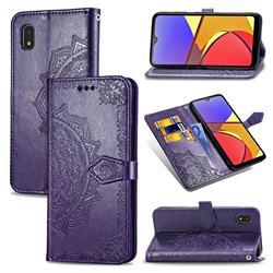 Embossing Imprint Mandala Flower Leather Wallet Case for Docomo Galaxy A21 Japan SC-42A - Purple