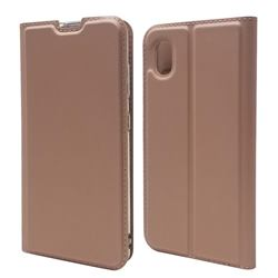 Ultra Slim Card Magnetic Automatic Suction Leather Wallet Case for Docomo Galaxy A21 Japan SC-42A - Rose Gold