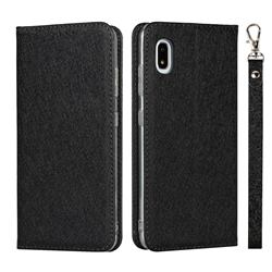 Ultra Slim Magnetic Automatic Suction Silk Lanyard Leather Flip Cover for Docomo Galaxy A21 Japan SC-42A - Black