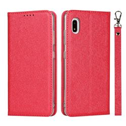 Ultra Slim Magnetic Automatic Suction Silk Lanyard Leather Flip Cover for Docomo Galaxy A21 Japan SC-42A - Red