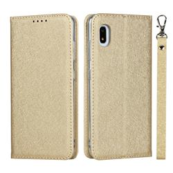 Ultra Slim Magnetic Automatic Suction Silk Lanyard Leather Flip Cover for Docomo Galaxy A21 Japan SC-42A - Golden