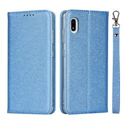 Ultra Slim Magnetic Automatic Suction Silk Lanyard Leather Flip Cover for Docomo Galaxy A21 Japan SC-42A - Sky Blue