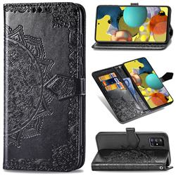 Embossing Imprint Mandala Flower Leather Wallet Case for Docomo Galaxy A51 5G SC-54A - Black