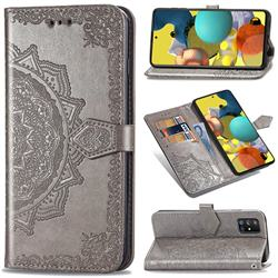 Embossing Imprint Mandala Flower Leather Wallet Case for Docomo Galaxy A51 5G SC-54A - Gray