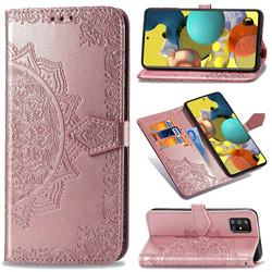 Embossing Imprint Mandala Flower Leather Wallet Case for Docomo Galaxy A51 5G SC-54A - Rose Gold