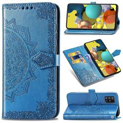 Embossing Imprint Mandala Flower Leather Wallet Case for Docomo Galaxy A51 5G SC-54A - Blue