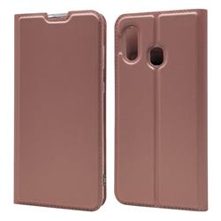 Ultra Slim Card Magnetic Automatic Suction Leather Wallet Case for Samsung Galaxy A30 Japan Version SCV43 - Rose Gold