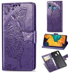 Embossing Mandala Flower Butterfly Leather Wallet Case for Samsung Galaxy A30 Japan Version SCV43 - Dark Purple