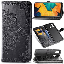 Embossing Imprint Mandala Flower Leather Wallet Case for Samsung Galaxy A30 Japan Version SCV43 - Black