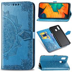 Embossing Imprint Mandala Flower Leather Wallet Case for Samsung Galaxy A30 Japan Version SCV43 - Blue
