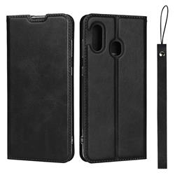 Calf Pattern Magnetic Automatic Suction Leather Wallet Case for Samsung Galaxy A30 Japan Version SCV43 - Black