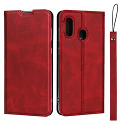 Calf Pattern Magnetic Automatic Suction Leather Wallet Case for Samsung Galaxy A30 Japan Version SCV43 - Red