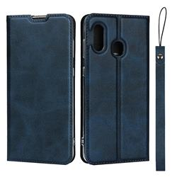 Calf Pattern Magnetic Automatic Suction Leather Wallet Case for Samsung Galaxy A30 Japan Version SCV43 - Blue