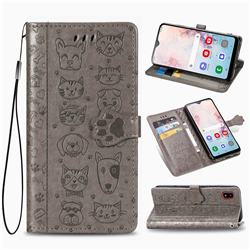 Embossing Dog Paw Kitten and Puppy Leather Wallet Case for Samsung Galaxy A30 Japan Version SCV43 - Gray