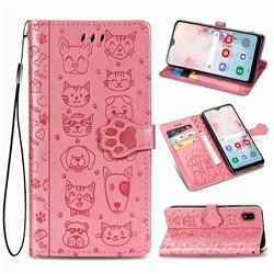 Embossing Dog Paw Kitten and Puppy Leather Wallet Case for Samsung Galaxy A30 Japan Version SCV43 - Pink