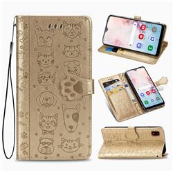 Embossing Dog Paw Kitten and Puppy Leather Wallet Case for Samsung Galaxy A30 Japan Version SCV43 - Champagne Gold