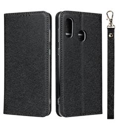 Ultra Slim Magnetic Automatic Suction Silk Lanyard Leather Flip Cover for Samsung Galaxy A30 Japan Version SCV43 - Black