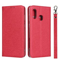 Ultra Slim Magnetic Automatic Suction Silk Lanyard Leather Flip Cover for Samsung Galaxy A30 Japan Version SCV43 - Red