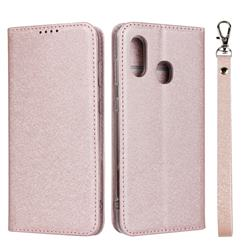 Ultra Slim Magnetic Automatic Suction Silk Lanyard Leather Flip Cover for Samsung Galaxy A30 Japan Version SCV43 - Rose Gold