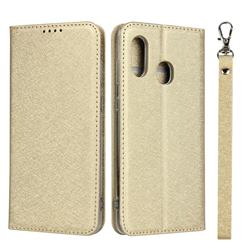Ultra Slim Magnetic Automatic Suction Silk Lanyard Leather Flip Cover for Samsung Galaxy A30 Japan Version SCV43 - Golden