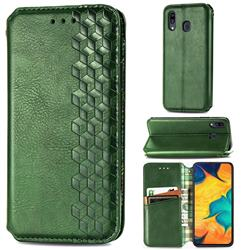 Ultra Slim Fashion Business Card Magnetic Automatic Suction Leather Flip Cover for Samsung Galaxy A30 Japan Version SCV43 - Green