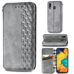 Ultra Slim Fashion Business Card Magnetic Automatic Suction Leather Flip Cover for Samsung Galaxy A30 Japan Version SCV43 - Grey