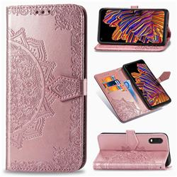 Embossing Imprint Mandala Flower Leather Wallet Case for Samsung Galaxy Xcover Pro G715 - Rose Gold