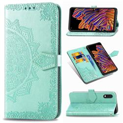 Embossing Imprint Mandala Flower Leather Wallet Case for Samsung Galaxy Xcover Pro G715 - Green