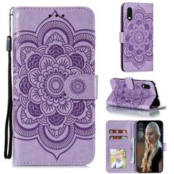 Intricate Embossing Datura Solar Leather Wallet Case for Samsung Galaxy Xcover Pro G715 - Purple