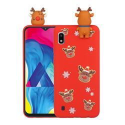 Elk Snowflakes Christmas Xmax Soft 3D Doll Silicone Case for Samsung Galaxy A01