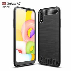 Luxury Carbon Fiber Brushed Wire Drawing Silicone TPU Back Cover for Samsung Galaxy A01 - Black