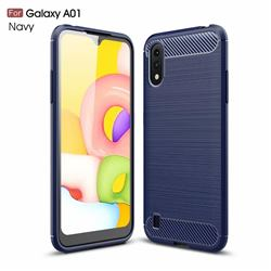 Luxury Carbon Fiber Brushed Wire Drawing Silicone TPU Back Cover for Samsung Galaxy A01 - Navy