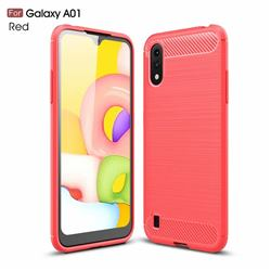 Luxury Carbon Fiber Brushed Wire Drawing Silicone TPU Back Cover for Samsung Galaxy A01 - Red