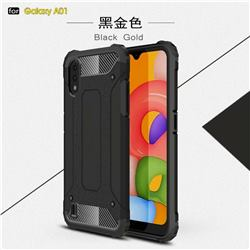 King Kong Armor Premium Shockproof Dual Layer Rugged Hard Cover for Samsung Galaxy A01 - Black Gold