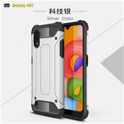 King Kong Armor Premium Shockproof Dual Layer Rugged Hard Cover for Samsung Galaxy A01 - White
