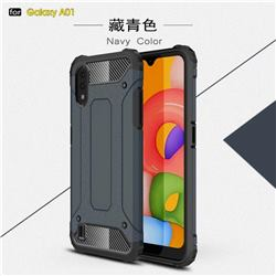 King Kong Armor Premium Shockproof Dual Layer Rugged Hard Cover for Samsung Galaxy A01 - Navy