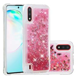 Dynamic Liquid Glitter Quicksand Sequins TPU Phone Case for Samsung Galaxy A01 - Rose
