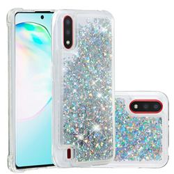 Dynamic Liquid Glitter Quicksand Sequins TPU Phone Case for Samsung Galaxy A01 - Silver