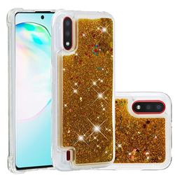 Dynamic Liquid Glitter Quicksand Sequins TPU Phone Case for Samsung Galaxy A01 - Golden