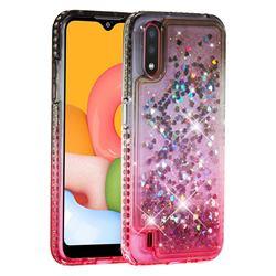 Diamond Frame Liquid Glitter Quicksand Sequins Phone Case for Samsung Galaxy A01 - Gray Pink